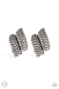 "Paparazzi ""Texture Twist"" Silver Studded Clip On Earrings Paparazzi Jewelry"