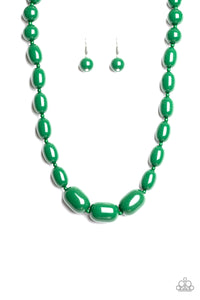 "Paparazzi ""Poppin Popularity"" Green Bead Silver Accent Necklace & Earring Set Paparazzi Jewelry"