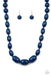 "Paparazzi ""Poppin Popularity"" Blue Bead Silver Accent Necklace & Earring Set Paparazzi Jewelry"