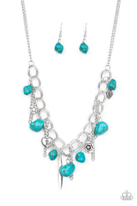 "Paparazzi ""Southern Sweetheart"" Blue Turquoise Stone Silver Floral and Heart Charm Necklace & Earring Set Paparazzi Jewelry"