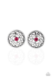"Paparazzi ""Sunlit Splendor"" Pink Rhinestone Silver Post Earrings Paparazzi Jewelry"