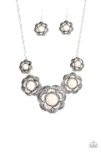 "Paparazzi ""Santa Fe Hills"" White Crackle Stone Silver Flower Necklace & Earring Set Paparazzi Jewelry"