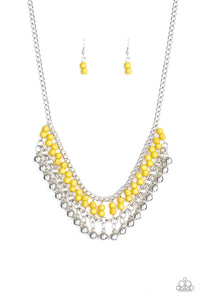 "Paparazzi ""Beaded Bliss"" Yellow and Silver Bead Necklace & Earring Set Paparazzi Jewelry"