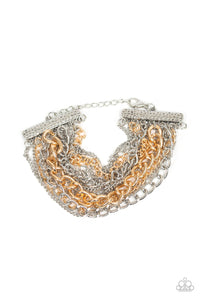 "Paparazzi ""Metallic Horizon"" Multi Silver & Gold Mixed Chain Bracelet Paparazzi Jewelry"