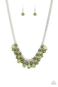 "Paparazzi ""5th Avenue Flirtation"" Green Glassy and Pearly Bead Necklace & Earring Set Paparazzi Jewelry"