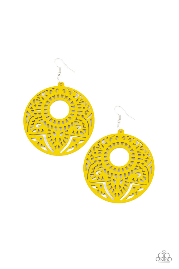 "Paparazzi ""Mandala Mambo"" Yellow Wooden Mandala Design Earrings"