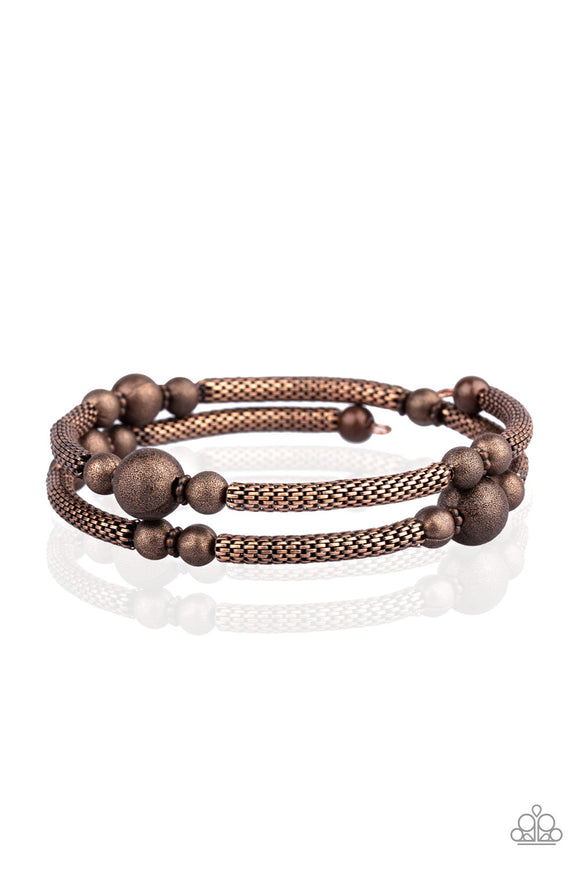 "Paparazzi ""West End Wraparound"" Copper Wire Mesh Bead Bracelet Paparazzi Jewelry"