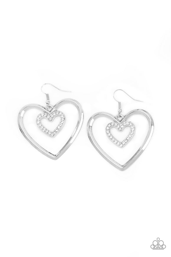 "Paparazzi ""Heart Candy Couture"" White Rhinestone Encrusted Silver Valentine Hoop Heart Earrings Paparazzi Jewelry"