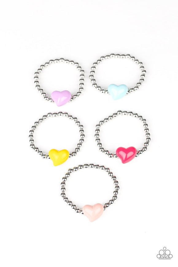 Girl's Starlet Shimmer 190XX Multi-Color Heart Silver Bead Set of 5 Bracelets Paparazzi Jewelry