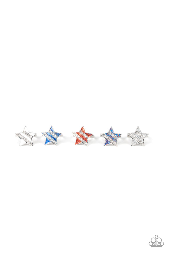 Girl's Starlet Shimmer 10 for $10 Red White Blue and Silver 214XX Rings Paparazzi Jewelry