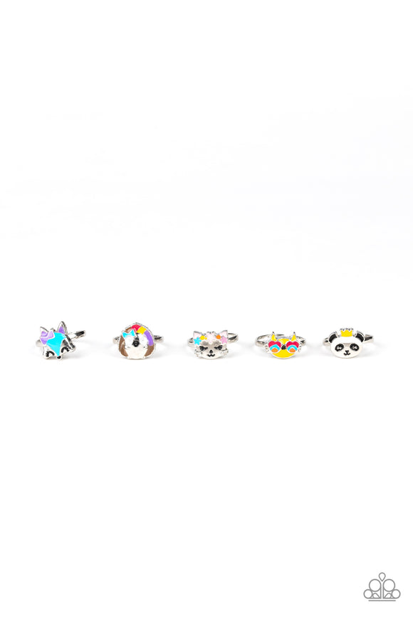 Girl's Starlet Shimmer Funky Animal Multi Color 5 for $5 234XX Panda Cat Fox Porcupine Silver Rings Paparazzi Jewelry