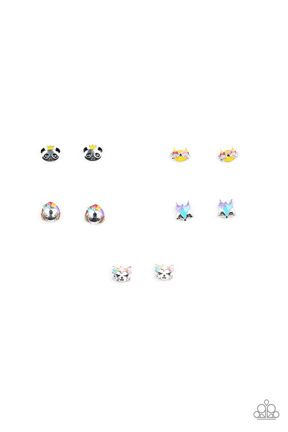 Girl's Starlet Shimmer Funky Animal Multi Color 5 for $5 288XX Panda Cat Fox Porcupine Silver Post Earrings Paparazzi Jewelry