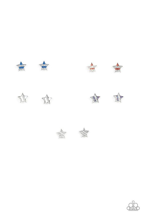 Girl's Starlet Shimmer 10 for $10 Multi Color Star Red White Blue 256XX Silver Post Earrings Paparazzi Jewelry