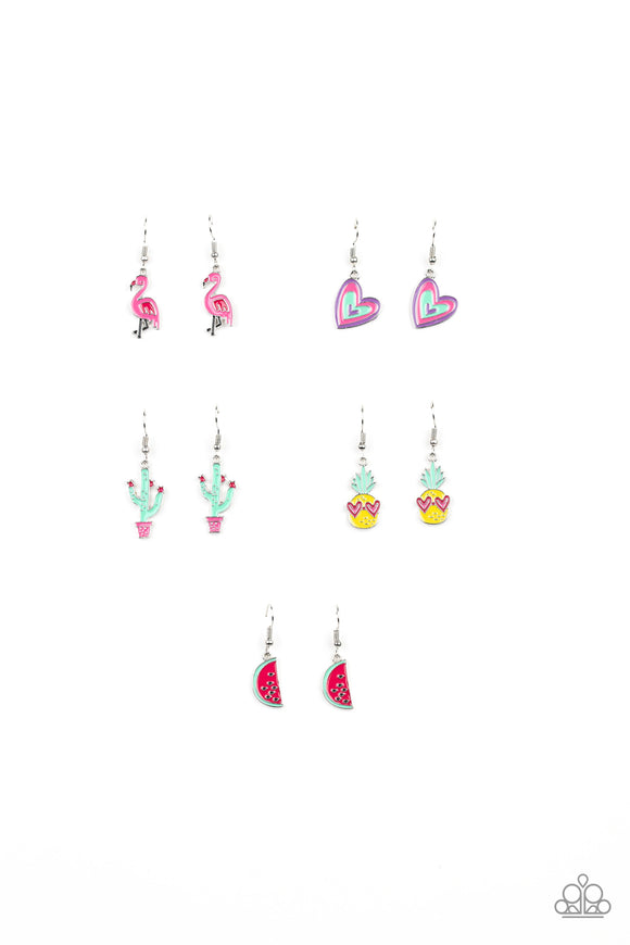 Girl's Starlet Shimmer 259XX Multi-Color Heart Watermelon Cactus Pineapple Flamingo Set of 5 Earrings Paparazzi Jewelry