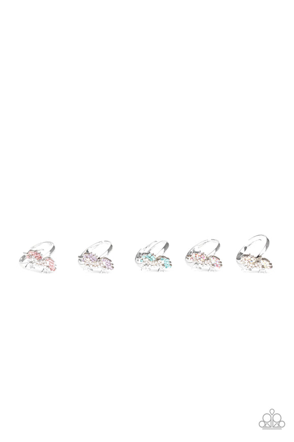 Girl's Starlet Shimmer 230XX Multi Blue Purple Pink White Rhinestone Unicorn Silver Set of 5 Rings Paparazzi Jewelry