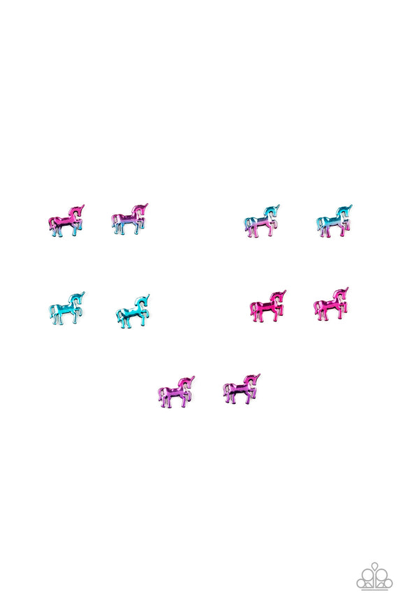 Girl's Starlet Shimmer Set of 5 Multi Color 285XX Unicorn Silver Post Sparkle Earrings Paparazzi Jewelry