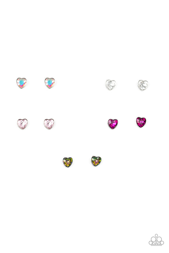 Girl's Starlet Shimmer 265XX Multi-Color Heart Rhinestone Set of 5 Earrings Paparazzi Jewelry