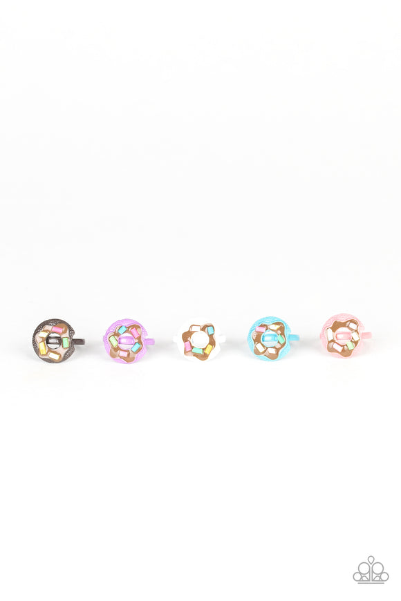Girl's Starlet Shimmer 5 for $5 Multi Color Sprinkle Donut 217XX Silver Rings Paparazzi Jewelry
