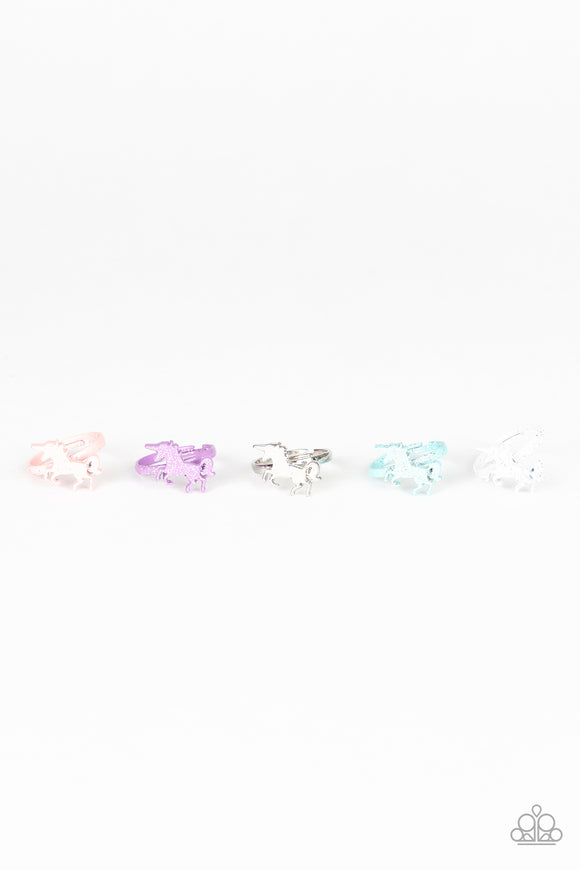 Girl's Starlet Shimmer Set of 5 Multi Color 231XX Unicorn Silver Post Sparkle Rings Paparazzi Jewelry