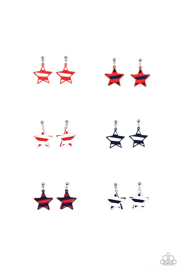Girl's Starlet Shimmer 10 for $10 Multi Color Star Red White Blue 257XX Silver Earrings Paparazzi Jewelry