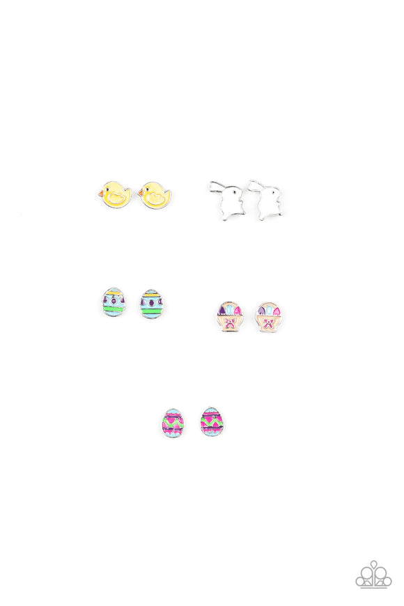 Girl's Starlet Shimmer Easter Multi Color 5 for $5 286XX Easter Bunny Chicken Egg Silver Post Earrings Paparazzi Jewelry