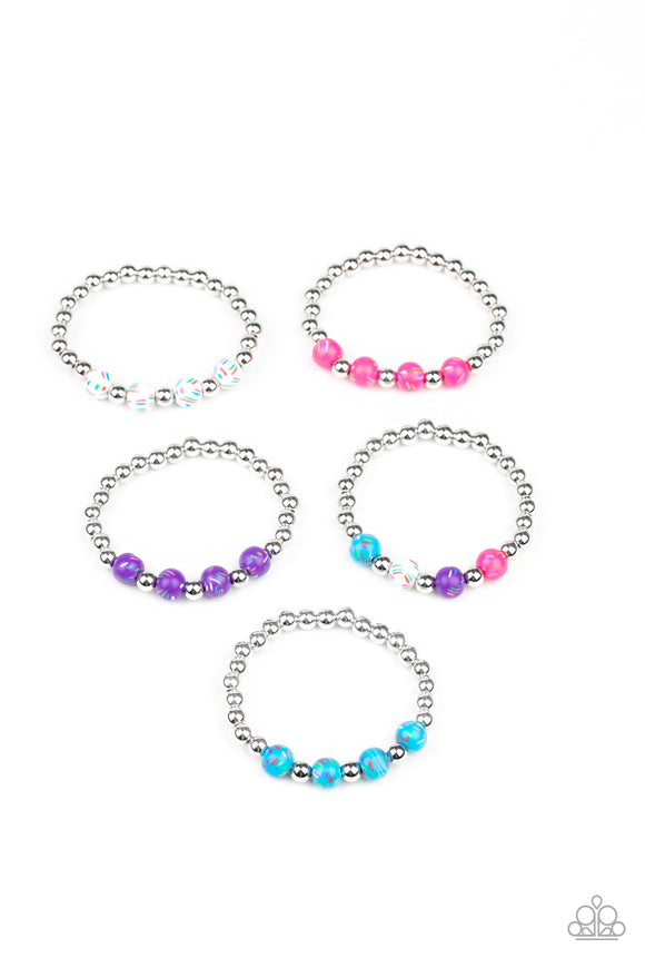 Girl's Starlet Shimmer 200XX Multi Color and Silver Bead Set of 10 for $10 Bracelets Paparazzi Jewelry