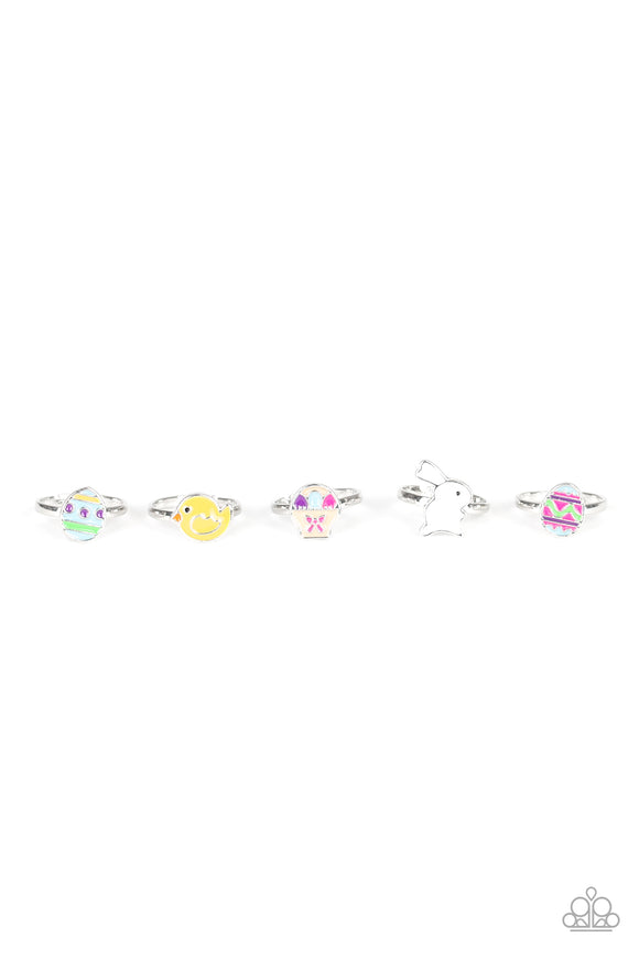 Girl's Starlet Shimmer Easter Multi Color 5 for $5 215XX Easter Bunny Chicken Egg Silver Rings Paparazzi Jewelry