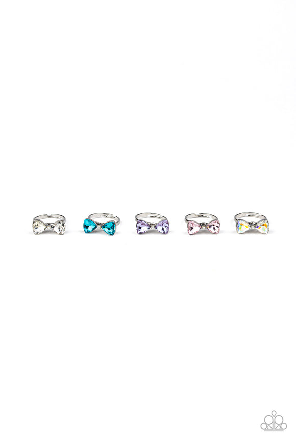 Girl's Starlet Shimmer 213XX Multi-Color Gem Bow Silver Set of 5 Rings Paparazzi Jewelry