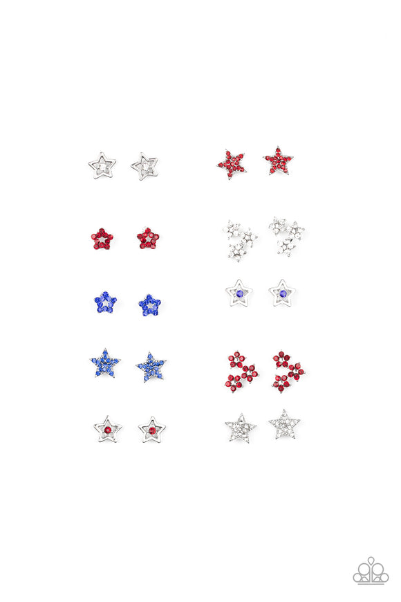 Girl's Starlet Shimmer 255XX Red White Blue Rhinestone Star Set of 10 Silver Post Earrings Paparazzi Jewelry