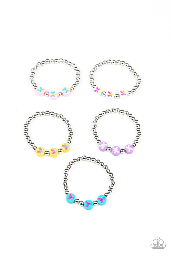 Girl's Starlet Shimmer 180XX Multi Color Butterfly Rubber Bead and Silver Bead Set of 5 Bracelets Paparazzi Jewelry