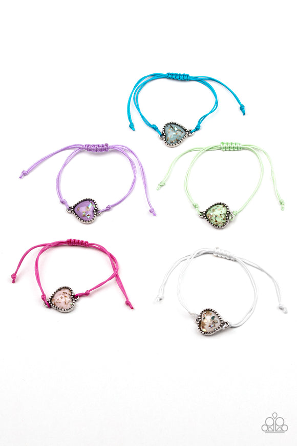 Girl's Starlet Shimmer 5 for $5 181XX Multi Color Pink Purple Green White & Blue Pull String Iridescent Heart Charm Bracelets Paparazzi Jewelry