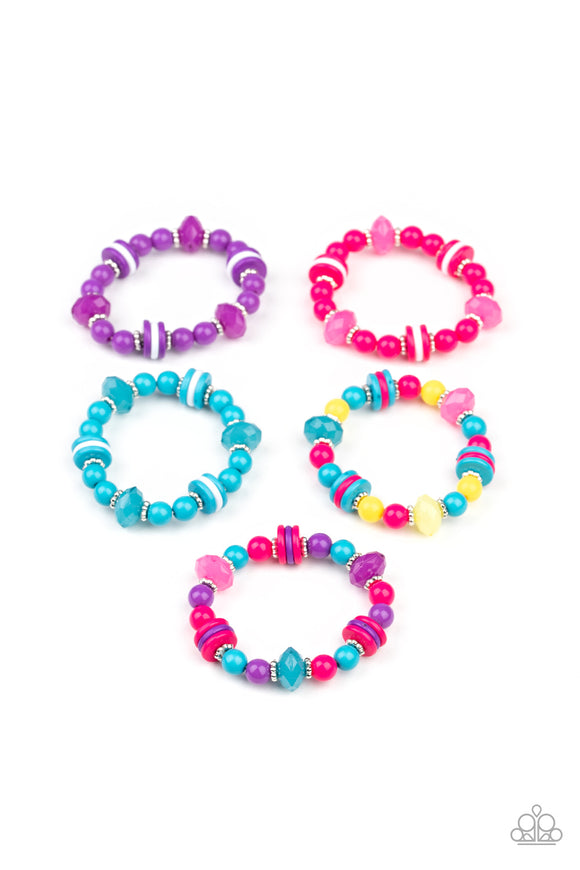 Girl's Starlet Shimmer 194XX Multi Color Pink Purple Blue Bead Set of 5 Bracelets Paparazzi Jewelry