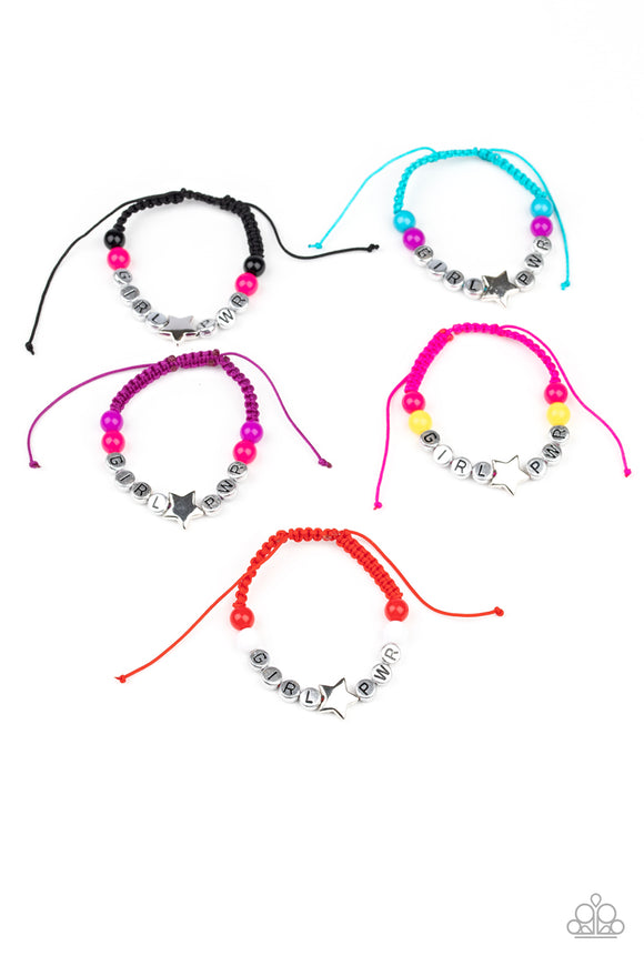 Girls Starlet Shimmer 201XX GIRL PWR Multi Color Bead Silver Star 10 for $10 Pull Cord Bracelets Paparazzi Jewelry