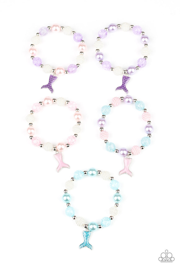 Girl's Starlet Shimmer 5 for $5 206XX Multi Color Blue Pink Purple & White Mermaid Tail Charm Bracelets Paparazzi Jewelry