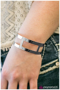 "Paparazzi ""All The BRIGHT Reasons"" Silver Rectangular Design Cuff Bracelet Paparazzi Jewelry"