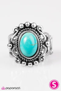 "Paparazzi ""Dreamy Deserts"" Blue Turquoise Stone Silver Tone Ring Paparazzi Jewelry"