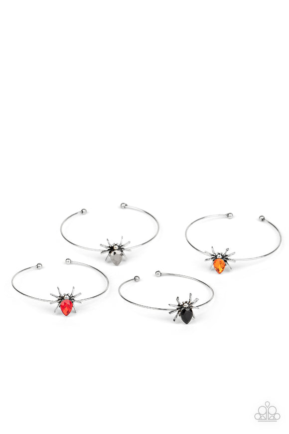 Girls Multi Color 212XX Multi Color Spider Gem Halloween Silver Band 10 for $10 Starlet Shimmer Cuff Bracelets Paparazzi Jewelry