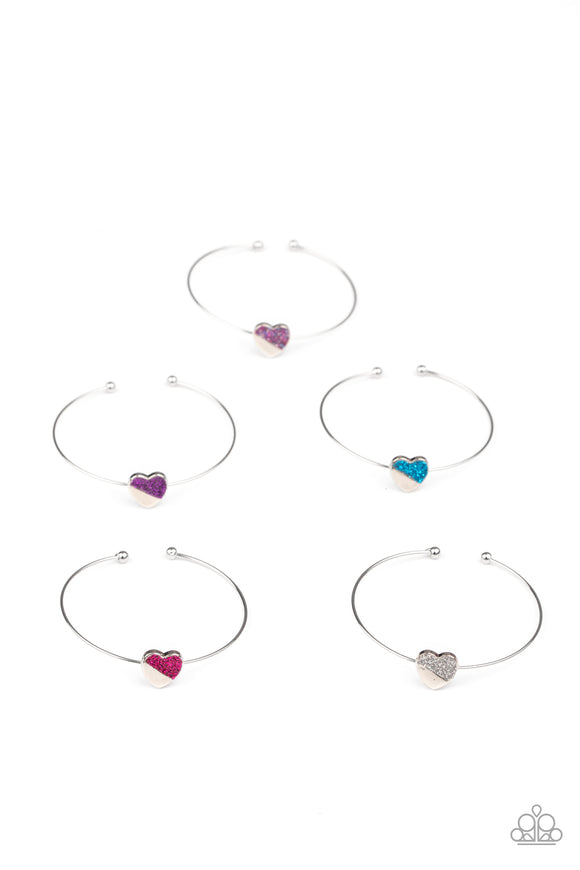 Girls Multi Color 213XX Heart Silver Band 10 for $10 Starlet Shimmer Bracelets Paparazzi Jewelry