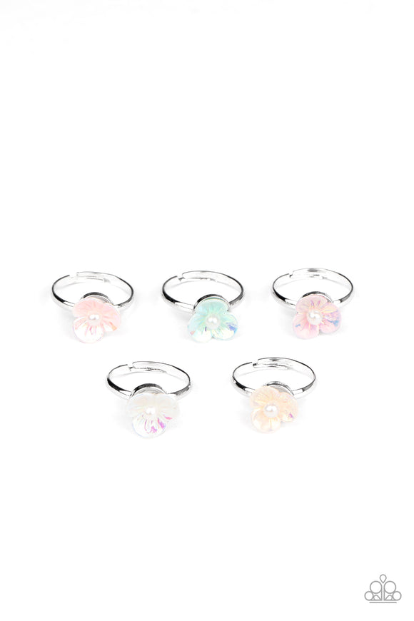 Girls Multi Color 241XX Multi Color Flower White Pearl 10 for $10 Starlet Shimmer Silver Rings Paparazzi Jewelry