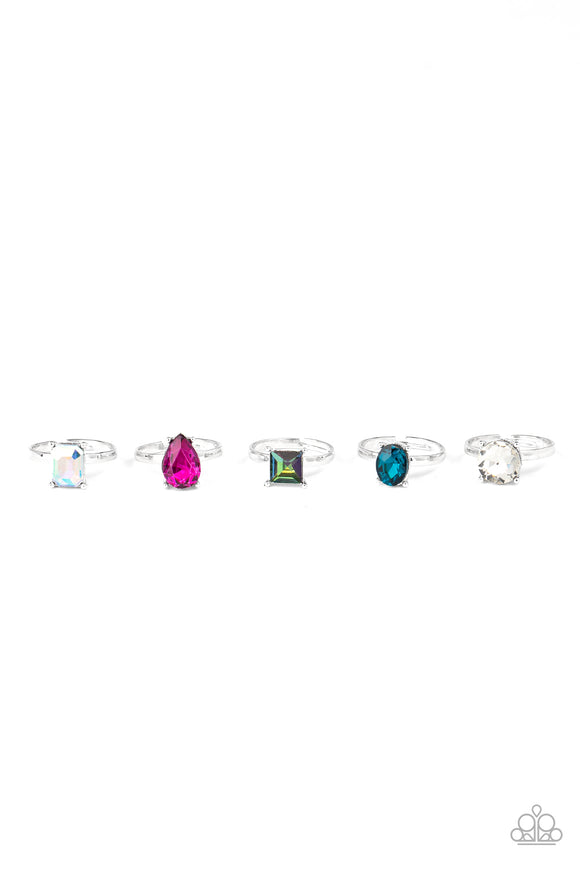 Girl's Starlet Shimmer 10 for $10 244XX Multi Color Shape and Color Solitaire Gem Silver RIngs Paparazzi Jewelry