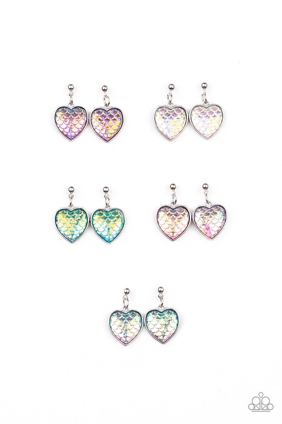 Girls Multi Color 295XX Multi Color Mermaid Iridescent Scale Silver Heart 10 for $10 Starlet Shimmer Earrings Paparazzi Jewelry