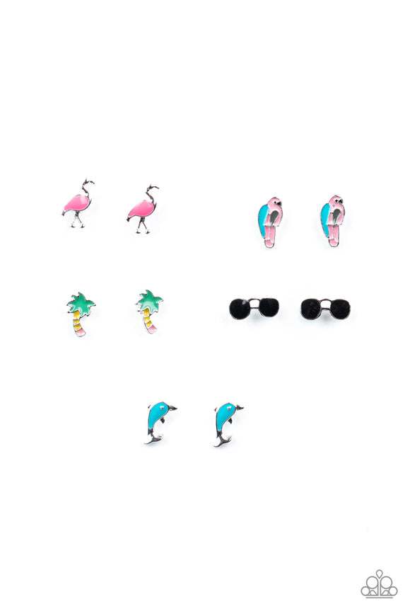 Girl's Starlet Shimmer 10 for $10 309XX Multi Color Beach Palm Tree Parrot Sunglasses Post Earrings Paparazzi Jewelry