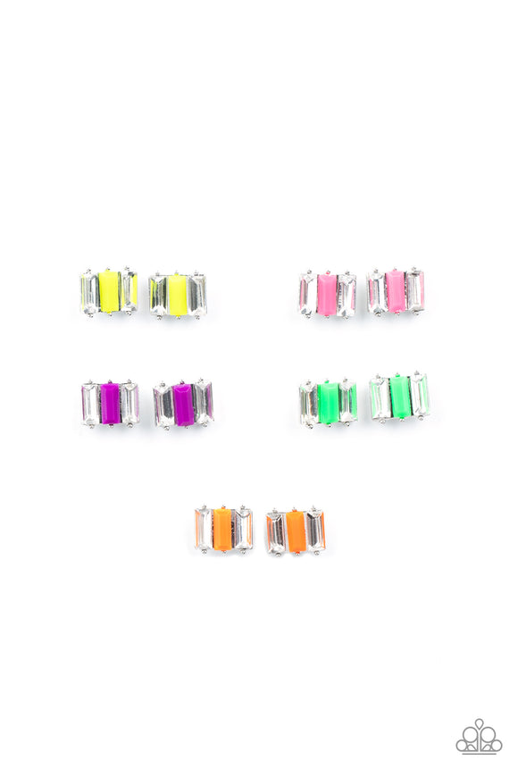 Girl's Starlet Shimmer 10 for $10 261XX Multi Color Neon Silver Post Earrings Paparazzi Jewelry