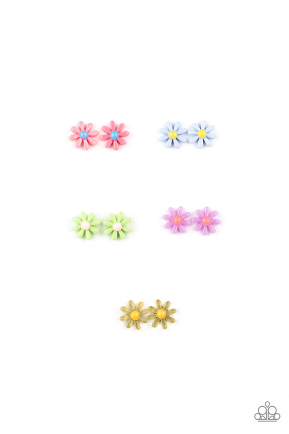 Girl's Starlet Shimmer 10 for $10 318XX Flower Multi Color White Rhinestone Silver Post Earrings Paparazzi Jewelry
