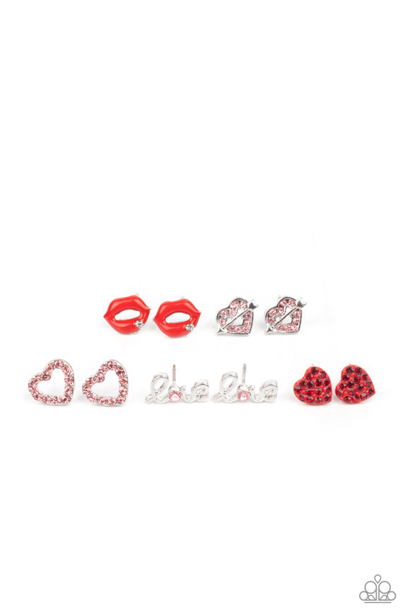 Girl's Starlet Shimmer 10 for $10 359XX Lips Love Heart Post Earrings Paparazzi Jewelry