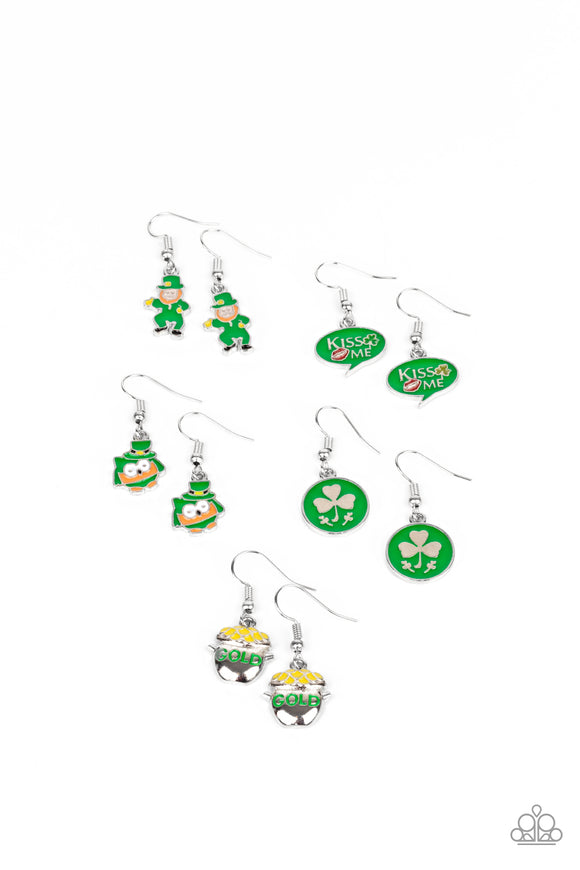 Girl's Starlet Shimmer 10 for $10 353XX St. Patricks Day Shamrock Earrings Paparazzi Jewelry