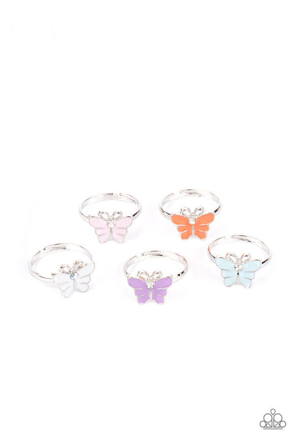 Girl's Starlet Shimmer 10 for $10 261XX Multi Color Rhinestone Butterfly Silver Rings Paparazzi Jewelry