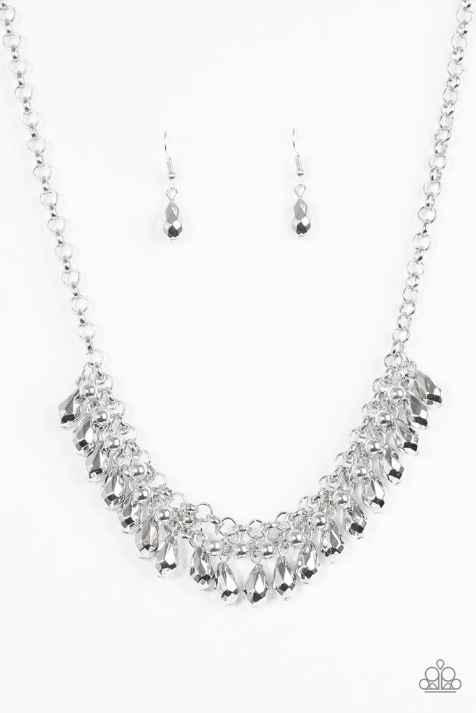 Paparazzi Quot Prima Diva Quot Silver Faceted Bead Fringe Necklace