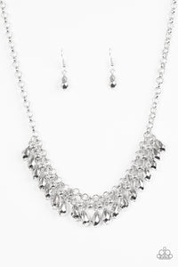 "Paparazzi ""Prima DIVA"" Silver Faceted Bead Fringe Necklace & Earring Set Paparazzi Jewelry"