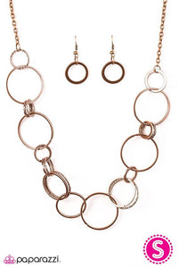 "Paparazzi ""Follow The RingLeader"" Copper Hoop Necklace & Earring Set Paparazzi Jewelry"